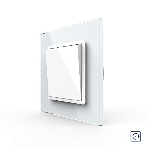 LIVOLO Weiß Lichtschalter Wechselschalter Kipp-/ Wippschalter mit Glasrahmen VL-K1-11-A