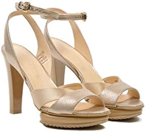 Hogan - Chunky Heel Metallic Sandals - HXW2470U830CTL0L65