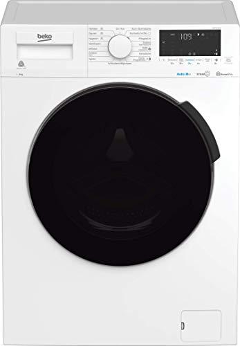 Beko WMC81464D Waschmaschine vollelektronisch/Restzeitanzeige und Schleuderwahl/ 1400 U/min/AutoDosing/schwarze XL-Tür/Bluetooth/Dampffunktion/Nachlegefunktion, weiß