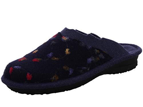 Rohde Damen Pantoffeln Hausschuh Leinen blau Gr. 37