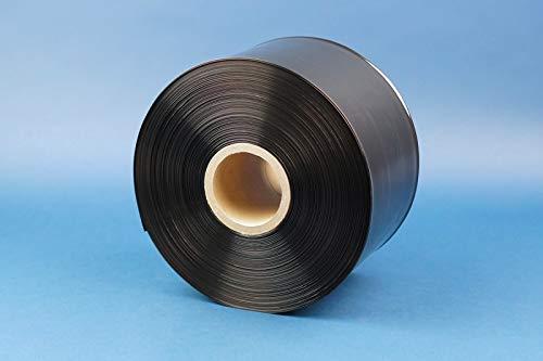 Schlauchfolie 100 my LDPE schwarz auf Rolle, 250m Lauflänge, lebensmittelechte Beutelfolie, blickdicht Folienstärke 100 my, Breite 250 mm