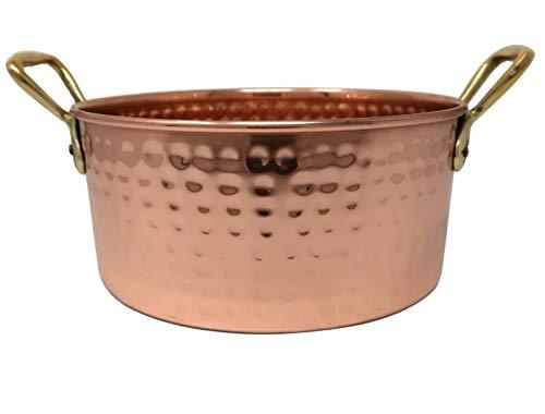ShalinIndia Faitout en cuivre avec poignées en laiton - Ustensile de cuisine indien martelé à la main - Capacité : 2000 ml