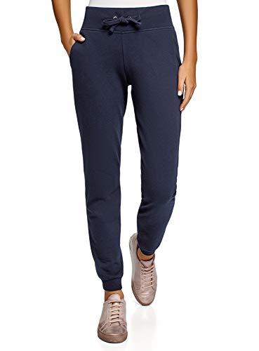 oodji Ultra Damen Sport-Hose mit Bindebändern, Blau, XS