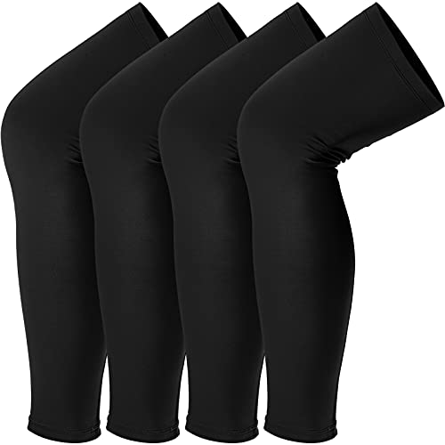 Sports Compression UV Long Leg Sleeves for Running Basketball Football Cycling and Other Sports for Men, Women, Youth (Black, 4 Pieces)