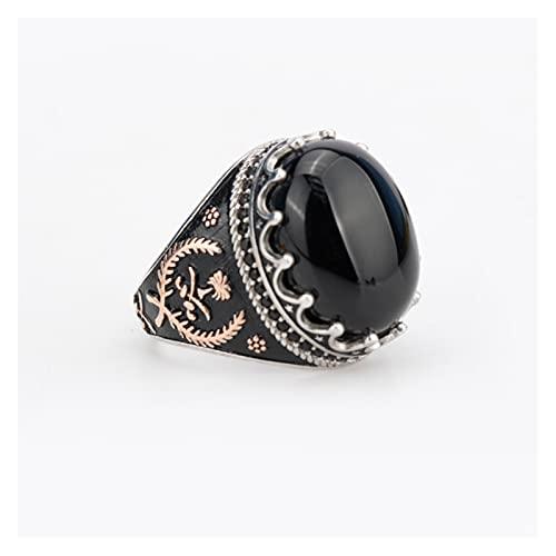 Ágata natural 925 Anillo de los hombres de plata esterlina con anillos de piedra de ágata natural negros espadas afortunadas hierba simetría islam musulmanes religiosas joyería ( Ring Size : 10 )