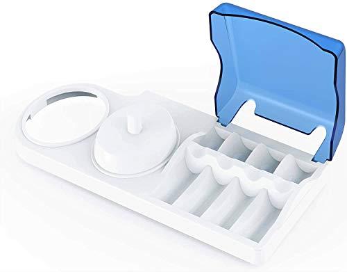 Custodia porta spazzolino elettrico per Oral b Braun con support per caricatore e coperchio per testine (contenitore base doppio con 4 copri testine)