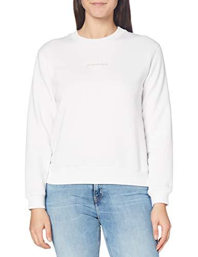 Calvin Klein Jeans Damen Monogram Logo Crew Neck Pullover, Bright White, 42