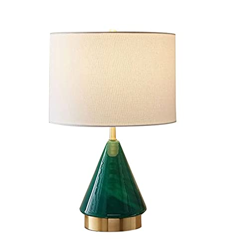 WM home Lámpara de Noche Lukloy American Green Triangle Glass LED lámpara de Mesa lámpara de Noche lámpara de Noche Moderna Minimalista luz luz LED para lámpara de Sala de Estar Lámpara de Mesa