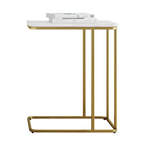 Living Room Furniture YAQ-Muebles de Oficina Mármol en Forma de C Mesita, Inicio multifunción Flor del Soporte del Metal de la Sala de Estar Balcón Vector del café Ocio Mesas de Pedestal