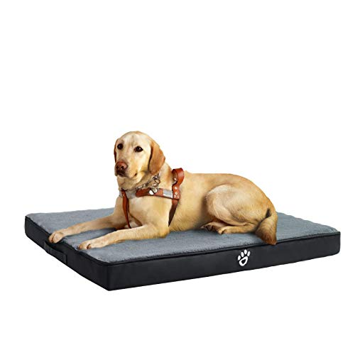 FRISTONE Cama ortopédica para perros pequeños y medianos y grandes, lavable, con forma de caja de huevo, cojín para perros con funda extraíble, XXL, color negro