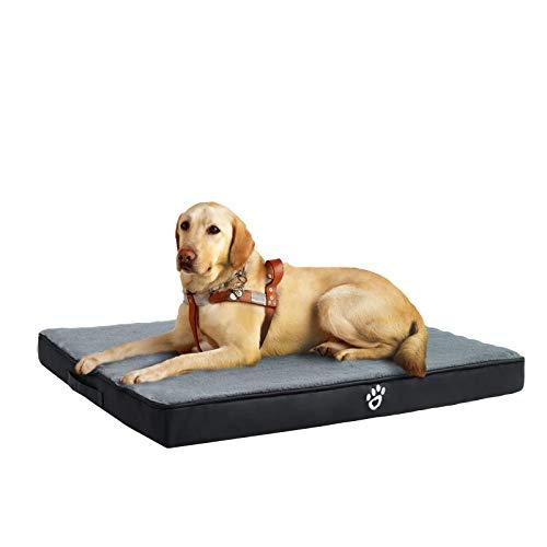 FRISTONE Orthopädisches Hundebett für Kleine Mittlere Große Hunde, Waschbar Hundematratze, Eierkistenform Schaum Hundekissen mit Abnehmbarem Bezug,XXL,Schwarz