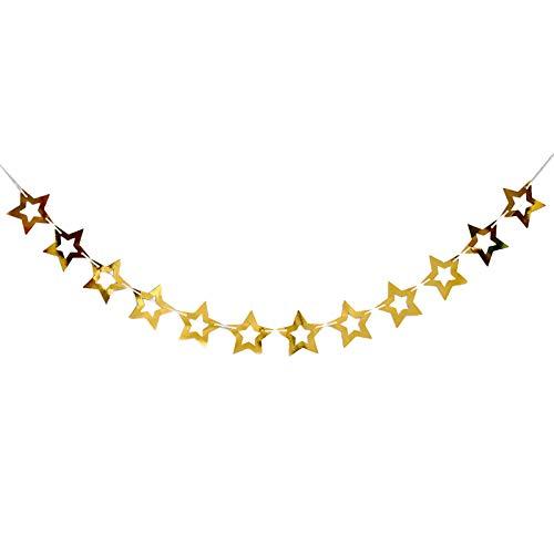 Stella Ghirlanda Glitter,12pz bandiera a stella ghirlanda,Per matrimonio, battesimo, banchetto, barbecue, battesimo del bambino(12cm,oro)