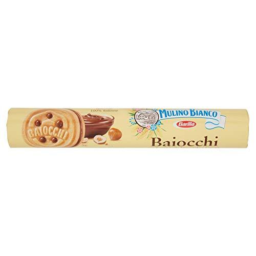 Mulino Bianco Biscotti Baiocchi con Crema alla Nocciola e Cacao per Colazione e Snack Dolce per la Merenda - 168 gr