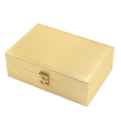 Cajas para joyas Organizador de la joyería caja - Mujeres Visualización dos capa de almacenamiento caso titular de la joyería grande de cuero de la PU con el pendiente de bloqueo for la pulsera collar