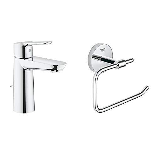 """Grohe BauEdge - Grifo de lavabo 1/2"""", Tamaño M, color cromo (Ref.23758000) + Grohe BauCosmopolitan - Portarrollos de baño (Ref. 40457001)"""