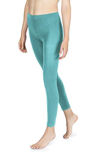 sockenkauf24 THERMO Leggings mit Innenfleece in 10 Farben extra warm Winter Leggings (40/42, Ozean)