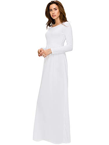 Made By Johnny MBJ WDR2037 Womens Crew Neck Long Sleeve with Pocket Maxi Dress S White