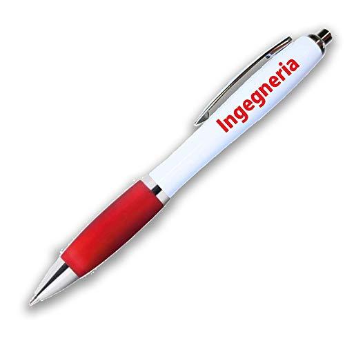 DLM-31507 (Kit 12 Pezzi) Penna a Sfera Scatto Personalizzata Laurea in Ingegneria Rosso e Argento Confettata Segnaposto bomboniera