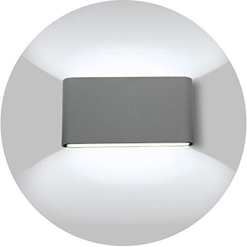 Topmo-plus 12w LED Lámpara pared corredor diseño/apliques pared balcón IP65 / OSRAM SMD/moderno Lámpara pared jardín exterior Arriba y Abajo Diseño 1320LM 6000K (Gris/blanco frío)