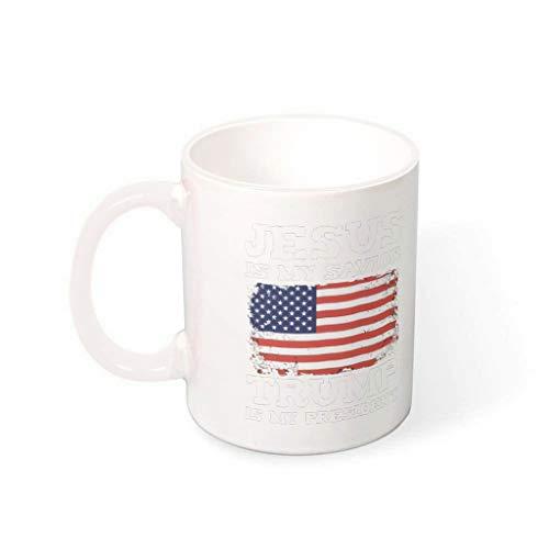 IOVEQG T-r-u-m-p is my president Novel - Taza de porcelana para microondas con mango para Navidad, regalo de Hanukkah (330 ml), color blanco