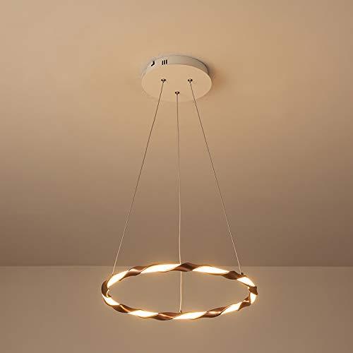 Suspension LED moderne lampe suspendue ronde 1 anneau design lampe pendule décoration lumière salon salle à manger chambre appartement éclairage en aluminium silice gel abat jour brun,40cm
