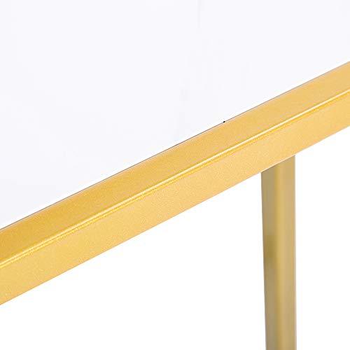 JIESD-Z Mesa auxiliar de sofá en forma de C con adhesivo de mármol blanco, tablero de MDF y patas de metal dorado, mesa de café, mesa de merienda, mesita de noche para sala de estar, dormitorio