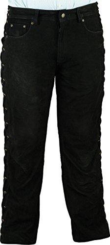 Fuente Schnürlederhose ohne Knienaht- Biker Lederhose Herren Damen Bikerjeans - Schnür Lederjeans Motorrad Lederhose aus Nubuk echt Leder Schwarz (56 EU, Schwarz)