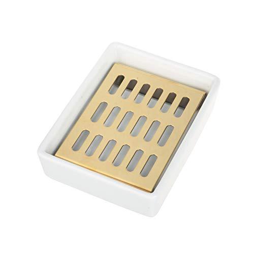 IMEEA Seifenschale, Keramik Sitz SUS304 Edelstahl Seifenhalter Seifenkiste Seifenablage für Badezimmer Dusche Küche Waschbecken Bar (Gold)
