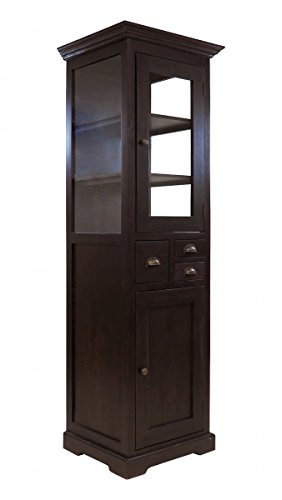 Beho Natürlich gut in Holz Teak VITRINENSCHRANK FARB KOLONIAL 58X50X185 cm