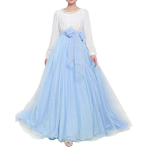 Women Wedding Long Maxi Puffy Tulle Skirt Floor Length A Line with Bowknot Belt High Waisted for Wedding Party Evening(Baby Blue,Large-X-Large)