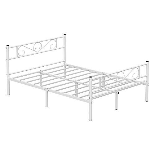 VASAGLE Lit Double, Cadre de lit en métal, pour...