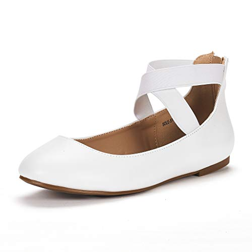 DREAM PAIRS Women's Sole_Stretchy White/PU Fashion Elastic Ankle Straps Flats Shoes Size 8 M US