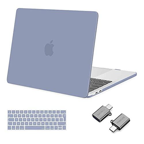 MOSISO Funda Dura Compatible con MacBook Pro 13 Pulgadas 2020-2016 A2338 M1 A2251 A2289 A2159 A1989 A1706 A1708, Plástico Carcasa Rígido&Cubierta de Teclado&Adaptador Tipo C,Gris Lavanda