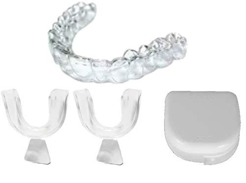 Par 2 Guardas Dentales con Estuche Para Bruxismo Nocturno Apretar o Rechinar Dientes Durante Dia y Noche Ferula Dental Protector Bucal Retenedor Desgaste Dental Dientes Ferula Oclusal