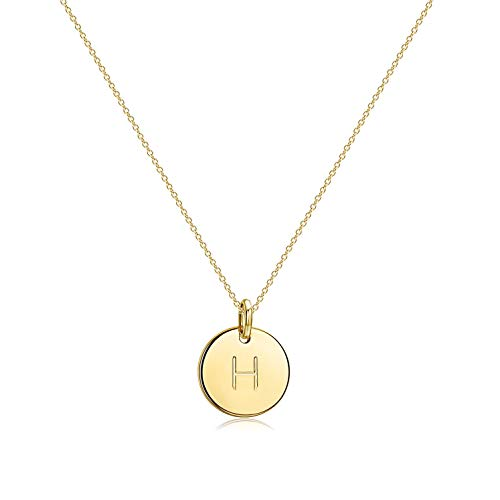 Befettly Initial Necklace,14K Gold-Plated Children Necklace Round Disc Double Side Engraved Hammered Name Necklace 16.5'' Adjustable Personalized Alphabet Letter Women Pendant H