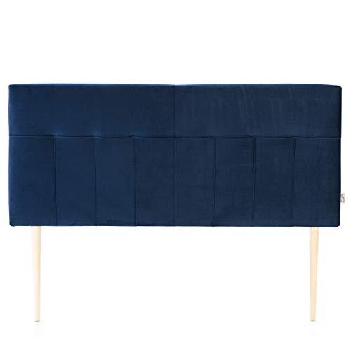 marckonfort Cabezal tapizado Nápoles 160x100 cm Azul Oscuro, Terciopelo, Patas de Madera, herrajes incluidos