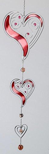 Formano - Moderne Fernster-Deko zum aufhängen Herz-Hänger Dekohänger Glasbild Muttertag Tiffany Rot/Silber 58cm Groß