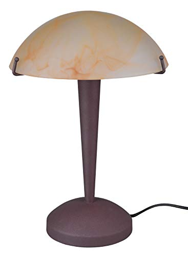 Reality, Lampe de table, Pilz 1xE14, max.40,0 W Verre, Blanc, Corps: metal, Nickel mat Ø:22,5cm, H:32,0cm IP20,ON/OFF Touch
