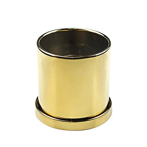 HCHLQLZ Macetas de cerámica de oro de 5 pulgadas con platillo