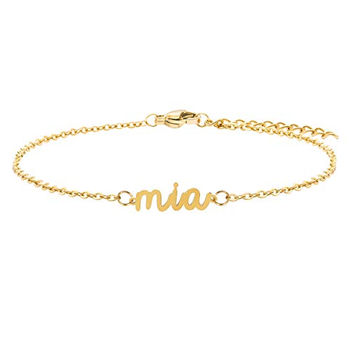 Joycuff Gifts for Teen Girls Mia Personalized Dainty Name Chain Bracelet 18K Gold Stainless Steel Simple Minimalist Initial Letter Jewelry Customized Your Name