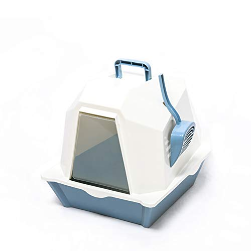 Caja de Arena para Gato Cerrado Forma Estereoscópica Encantador Aseo Gatitos Antiolor Ecológico Abertura Frontal Fácil de Limpiar WC Inodoro,Blue