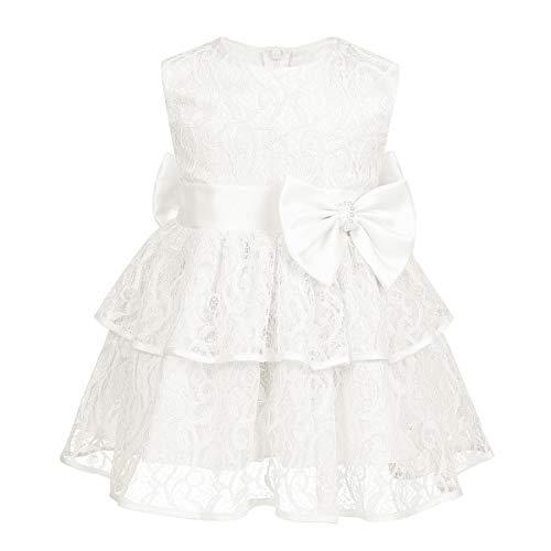 MSemis Baby Mädchen Prinzessin Kleid Blumenmädchenkleid Taufkleid mit Bowknot Spitzen Festlich Kleid Hochzeit Partykleid Festzug Tutu Kleider Elfenbein 6-12 Monate
