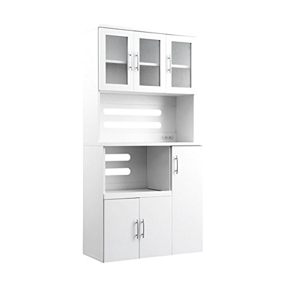 有効な明示的に放課後ホワイト食器棚【パスタキッチンボード】(幅90cm×高さ180cmタイプ)
