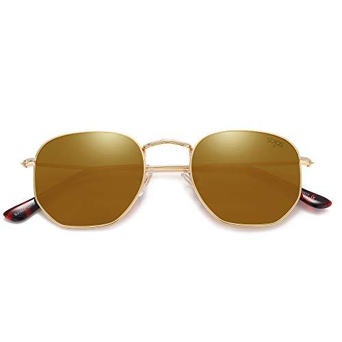 SOJOS Mode Polygon Sonnenbrille Damen Herren Verspiegelte Linse Leichte Unisex Brille SJ1072 mit Gold Rahmen/Gold Linse