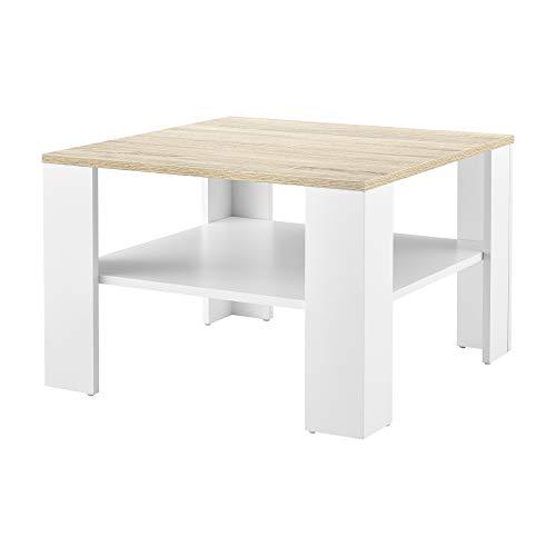 [en.casa] Mesa de Centro con Estante Inferior 60 x 60 x 40 cm Mesa de te Mesa Auxiliar Mesa de Salon Blanco y Efecto Roble