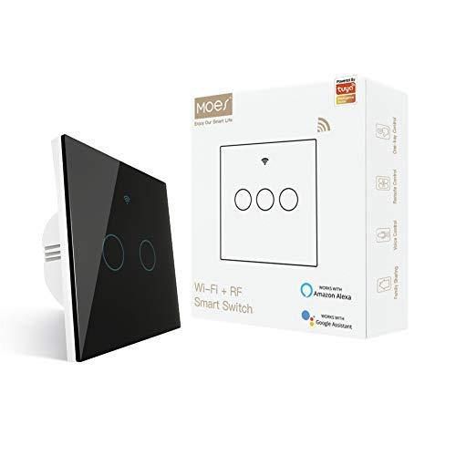 MOES interruttore smart WiFi RF433 touch da parete, non richiede neutro, 2 via interruttore intelligente compatibile con Smart Life/Tuya, lavora con Alexa e Google Home Nero, 2 Gang