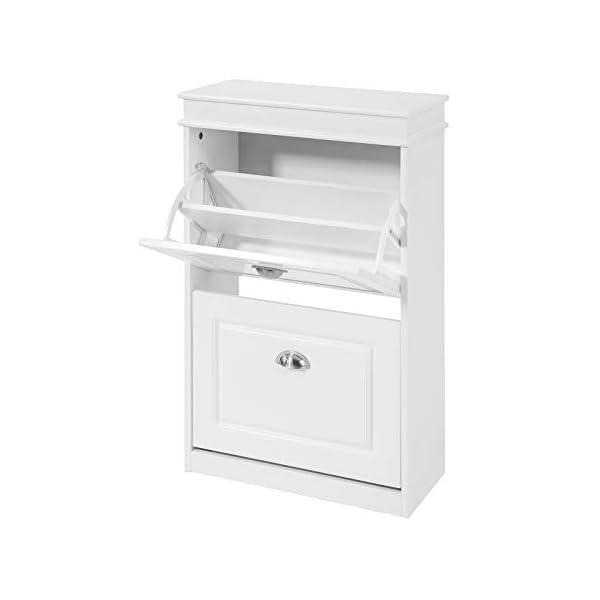Haotian FSR78-W, 2 Drawers Shoe Cabinet Shoe Rack Shoe Storage Cupboard Organizer Unit