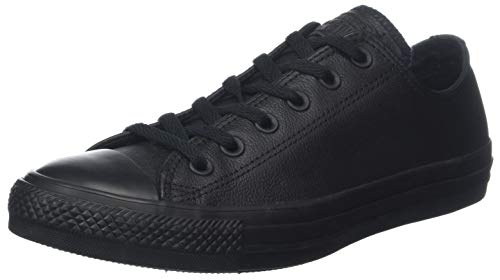 Converse Chuck Taylor All Star Leather Low Top Sneaker, Black Mono, 12 M US