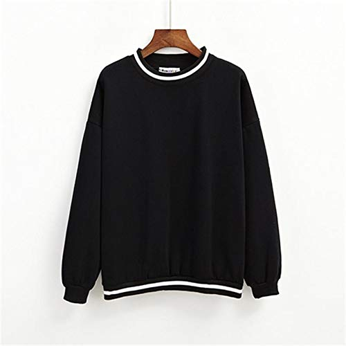 New Women's Tunic Harajuku Ulzzang Fashion Stripe Color Matching Loose Sweatshirt Female Cute Svitshot for Women One Size White