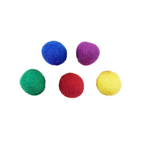 フェルトボール5ピースクラフトウール球DIYクリスマスホリデーホームデコレーション幼稚園パーティー小道具、多色